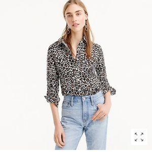J. Crew Leopard Print Perfect Shirt  ButtonDown 0